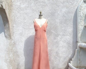 1/2 Off SALE Vintage 60s Apricot Slip Dress, 1960 Prom, Bridesmaid Peach Gown