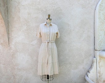 1/2 Off SALE Vintage Raw Silk Dress, 1970s Ivory Shirtwaist, Classic Summer Frock XSmall