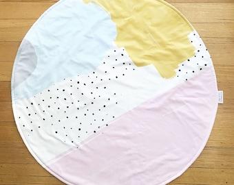 Round Play Mat - baby tummy time mat - nursery rug - picnic mat - change mat - baby girls - abstract