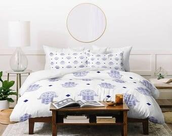 Hand of Fatima Hamsa White Blue Queen King Duvet Cover, New Home Housewarming Gift Guest Bedroom Decor, Christmas Gift Idea, Dorm Decor