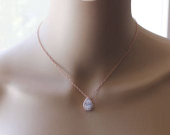 Bridesmaids necklace, Rose gold Tear Drop CZ necklace, Cubic Zirconia necklace, Bridesmaids gift, Gold bridal necklace, Bridal necklace