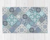 Marrakesh Tiles Rug, Area Rug, Floor Rugs, Vintage Carpet, Home Decor, Aqua Mint Turquoise Teal Denim Indigo Slate Royal Blue White Grey