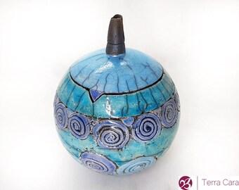 Ceramic Raku Jar Storage With Dots