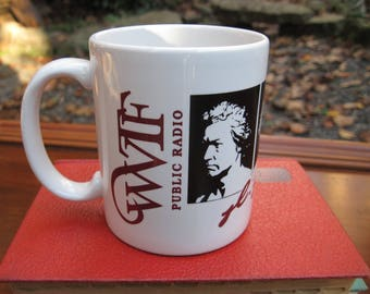 Vintage Beethoven Ceramic Coffee Tea Mug WVTF Public Radio Virginia 1990 Alles Designs