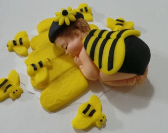 BEE baby Cake Topper Made of Fondant and gumpaste, BABY SHOWER, First Birthday boy or girl, Cake Supplies and Decorations