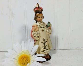 Infant of Prague Statue Petite Chalkware Religious Figure in Challenged Condition Christian / Catholic Faith Icon