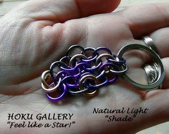 """Chainmaille Keychain, Merlin Mix, Anodized Aluminum Rings - Silver Tone Flat Split Keychain Ring - 2 3/4"""" - Hand Crafted Artisan Jewelry"""
