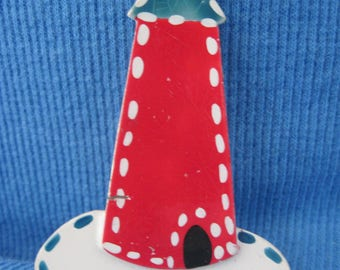 Vintage GORGEOUS Gold Hand Painted Enamel Lighthouse Brooch  ....#7516