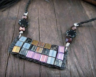 Beaded Pendant Necklace by GlowCreek, Black with Colorful Mosaic, Adjustable choker to long necklace, Bohemian Tassel Jewelry