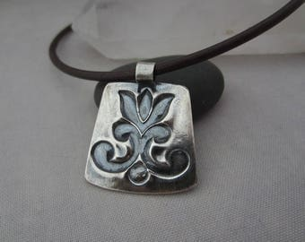 Silver Pendant/ Leather Choker with Silver Pendant/ Oxidized Silver Pendant/ Silver Tulip Pendant