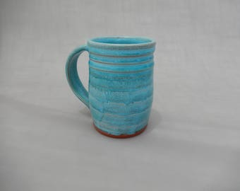 Large Ceramic Coffee Mug - Turquoise Glazed Terracotta Pottery Cup