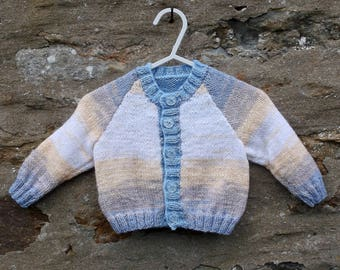 "Baby boys hand knitted self patterning cardigan. 16""  chest."