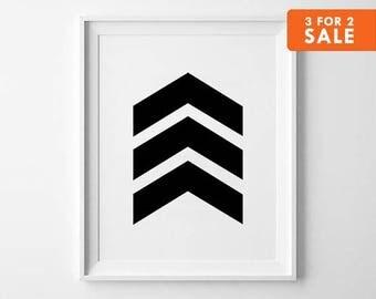 Chevron Print, Geometric Wall Art, Nursery Decor, Kids Room, Black and White, Scandinavian Poster