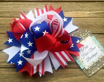 Funky Patriotic hair bow , funky 4th of July hair bow , funky red white and blue bow , patriotic bow