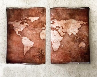 World Map Passport Cover in brown - Passport case with a print of the map of the world