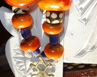 Large  Moroccan tarnished amber resin and  brass alphabet Tifinagh + chevron  Mali bead necklace