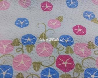 Morning glory, light blue, 1/2 yard, pure cotton seersucker fabric