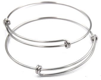 Two Adjustable Stainless Steel Bangle Bracelet, double loop