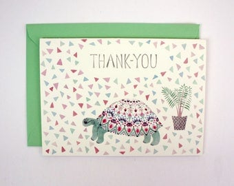 A6 Card - Tortoise and Plant 'Thank-you'