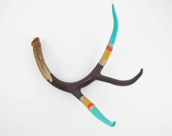 Painted Antler - EXTRA LARGE - Purple, Mustard, Orange & Turquoise Stripe - Home Decor