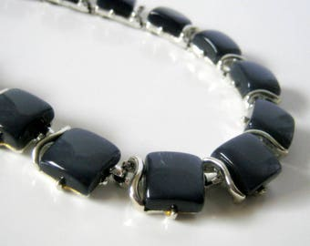 Coro Lucite Necklace, Vintage Blue Grey Silver Necklace, Fashion Jewelry, Coro, Gift for Her