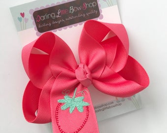 """Strawberry Bow to match Matilda Jane Camp MJC Let's Jam -- double stacked burlap bow with teddy bear center -- chooose 5"""" or 6"""""""