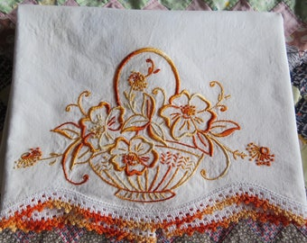 Single Vintage Embroidered Pillowcase White Cotton Orange Flower Basket Embroidery Crochet Lace
