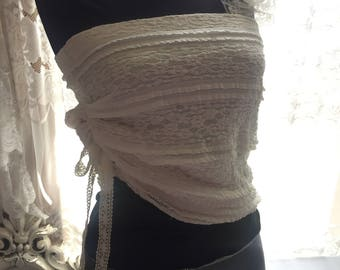 Lace top one sleeve for up or off shoulder, shabby chic gypsy boho, crop, festival artsy top