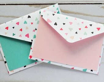 Tiny Heart Mini Cards // Set of 4 // Blank Card // Gift Card Envelope // Enclosure Card // Baby Shower Guestbook // Best Wishes // Love Note