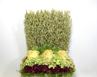 Dried Flower Arrangement, Stacked Floral Arrangement, Garden