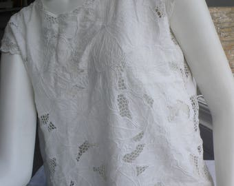 Vintage white cotton embroidered lace top beautifully made rare M / L