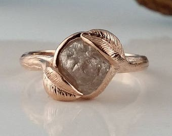 RESERVED LISTING: 14k White Gold 2 Leaf Engagement Ring with Rough Diamond