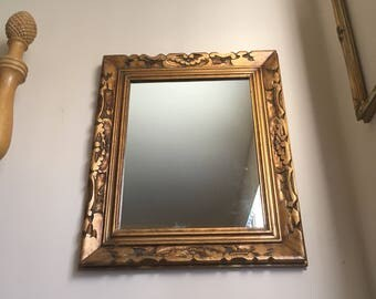 Ornate Hollywood Regency Wall Mirror - Chunky Carved Gilded Wood Framed Mirror