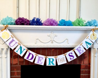 Under the sea party decorations , mermaid birthday decorations, beach party, pool party banner, tropical birthday party decor, your colors