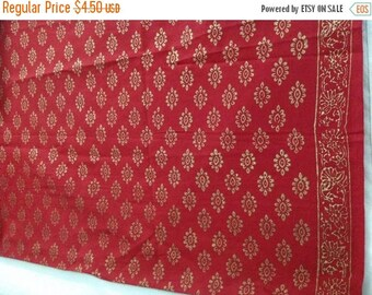 15% off on Half yard Yard indian  Cotton  fabric in red gold with block printed gold motifs