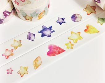 Bright Colorful Watercolor Stars and Hearts Bubble Stars Washi Tape 5.5 yards 5 meters 20mm