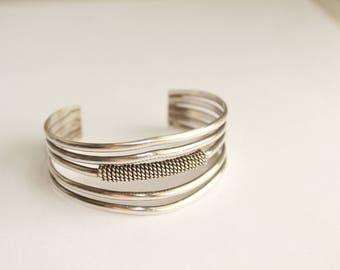 Sterling Silver Five Lines Cuff Bracelet- Multi Strand Cuff Bracelet