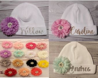 Newborn hospital hat, NAME and FLOWER CHOICE, baby girl hat, newborn hat, infant girl hat, baby hospital hat, newborn beanie, baby girl hat