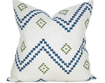 Taj pillow cover in Indigo/Green - ON BOTH SIDES