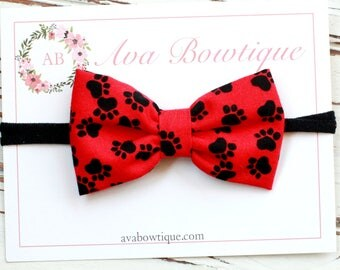 Red and Black Bow Headband - Georgia Bulldog Headband - Football Bow Headband - UGA Bow Headband