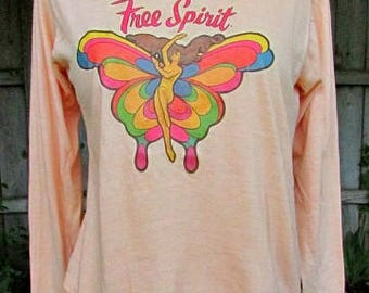 vintage 70s free spirit shirt top rainbow butterfly with naked lady s hippie usa free shipping  RARE