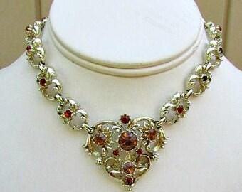 vintage 60s coro rhinestone heart choker necklace gold tone colors of citrine