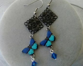 Blue and Black Butterfly Earrings