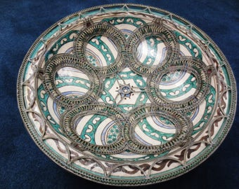 Moroccan Pottery Ceramic Bowl Wall Hanging Vintage Home Decor Hand Painted Multicolor Boho Middle Eastern