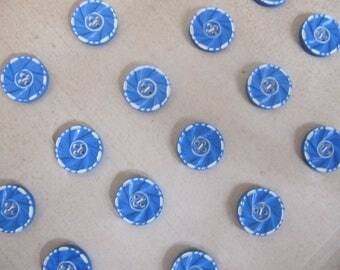 Art Deco 1930's buttons, 24 small vintage casein blue white buttons, quality galalith plastic buttons made in Germany, 13mm button unused