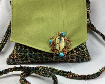 Multi Colored Tweed Bag with Lime Flap