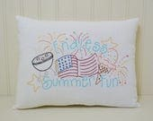 Endless Summer Fun Decorative Pillow, Flag Accent Pillow, Patriotic Fireworks Home Decor, Hand Embroidered Shelf Sitter, Barbecue, Ice Cream