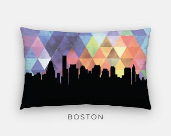 Boston skyline pillow   Boston art pillow   Boston home decor purple   Boston Massachusetts home   Massachusetts home decor   modern pillow