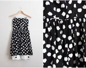 80s Black and White Strapless Dress / 1980s Dress / Black Dress / Day dress / Cotton Dress/ Size XS/S