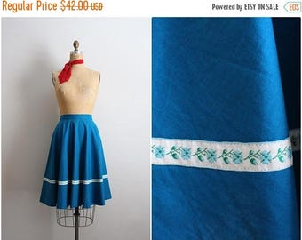 20% OFF SALE // 50s Turquoise Skirt / Floral Skirt/ Summer Skirt/ Size XS/S